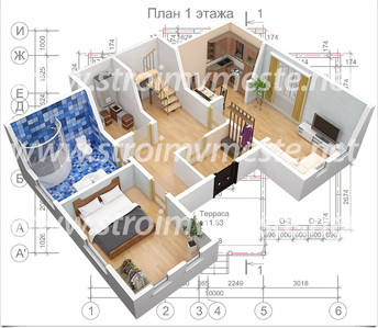 План 1 этажа +3D